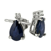 14k White Gold Pear Cut Blue Sapphire And Diamond Stud Earrings With Push Back