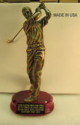 Golf Trophy Bronze 12 1/4 Tall Rosewood Base Free Custom Engraving 2 Day Mail