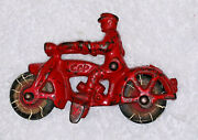 Antique 1930's Hubley Cast Iron Red Toy Motorcycle Cop 2 Headlights
