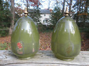 Antique Art Deco Green Glass Faded Painted Lamp Shades Ceiling Fixture Light 7