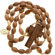 Olive Wood Rosary Corded Large Oval Beads 7mm 13mm Pax Cross Men Women 21 Len