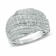 1ct Natural Diamond Layered Wave Band In 10k White Gold