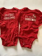 Carters 12 Month Holiday My First Christmas One Piece Baby Shirt Lot Of 2