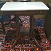 Old Antique Victorian Walnut Parlor Table With Marble Top ◇ 26 X 18 X 29