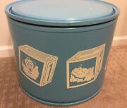 Vintage Toy Chest Drum Storage Box Canister Barrel Animal Blocks Blue Round