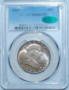 1950 Pcgs Ms66fbl Cac Full Bell Lines Scarface Die 1 Franklin Half Dollar