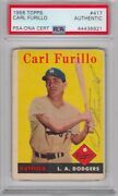 Carl Furillo Los Angeles Dodgers 1958 Topps Signed Autograph Psa Dna