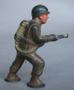 1950s Vintage Barclay Pod Foot Painted Cast Lead Soldier W/ Flamethrower Figure