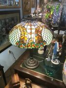 """Stained Glass Lamp Peacock Shade  Style 24""""x 17"""""""