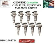 Set/8 Oem Caterpillar Diesel Injectors For Engine - Truck 3126e No Core Charge