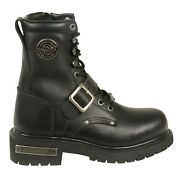 Milwaukee Leather Womens Buckled And Lace To Toe Motorcycle Boots Size 8