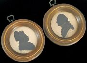 Antique Silhouette Mr Mrs President George Washington Artist Signed Wall Hanging