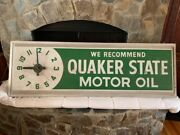 1973 Dualite Quaker State Motor Oil Lighted Clock Very Large Advertisingandnbspsign 6and039