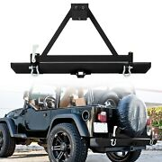 For Jeep Wrangler 87-06 Tj Yj Rock Crawler Rear Bumper W/tire Carrier And D-ring