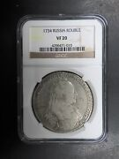 Russia 1 Rouble 1734 Anna Ngc Vf20 Certification