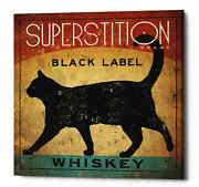 Epic Graffiti 'superstition Black Label Whiskey Cat' By Ryan Fowler, Giclee Canv