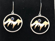 Yogo Sapphire 14kt Gold And Silver Mountain Earrings .32tcw