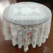 White Vintage Lace Floral Tablecloth Round Table Cloth Cover Wedding Party 70