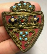 Antique Bullion Shield Patch Crest Badge Pin, Cotton Wool Thread Beads Crowned