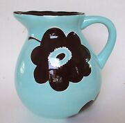 Laurie Gates 8 Inch Serving Pitcher Blue Brown Flowers Floral Ware
