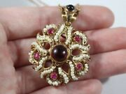 Antique 14k Gold Italian Seed Pearl With Ruby And Garnet Necklace