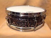 Very Rare 60and039s Vintage Rogers Luxor Black Onyx Pearl Snare Drum Andnbsp5x 14andnbsp