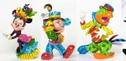 Romero Britto Parrot Mickey And Minnie Mouse Samba Set Large Figurines 8.5 Inches