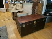 Antique Louis Vuitton Leather Steamer Luggage Trunk Chest 1890-1919 Henry Moody