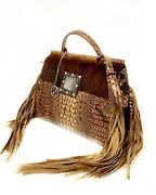 Raviani Satchel Brown Crocodile And Brindle Leather W/square Concho And Fringe