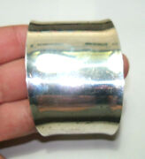 Vintage Signed Mexico Chunky Sterling Silver Cuff 1.3oz. Adjustable 2 Wide