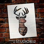 Deer Head Stencil With Antlers By Studior12 | Diy Country Animal Farmhouse