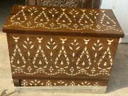 Antique Carving Sandalwood Box Inlaid Mother Of Pearl And Silver 32x16