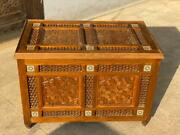 Antique Large Carving Wood Storage Box With Arabesque 34.4x20.8