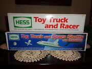 Hess Trucks,toy Truck And Racer 1991, Toy Truck And Space Shuttle/satellite 1999 New