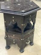 Antique Handwork Carving Wood Side Table End Table Inlaid Mother Of Pearl