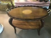 Rare Antique Inlayed Wooden With Brass Coffee Table Serving Tray Top