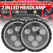 1 Pair 7inch 140w Projector Led Headlamp Hi/lo With Drl Halo Angle Eye For Jeep