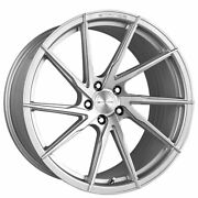 4ea 22 Staggered Stance Wheels Sf01 Brush Face Silver Rims S5