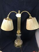 Reed And Barton Vintage Crystal And Brass Lamp - Twin Shades