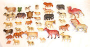 Lot Of 36 Vintage Celluloid Animals - Lions Cows Rams Camel