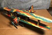 Vintage Mettoy   Tin Military Biplane Airplane   Mechanical Wind-up   Pre 1946