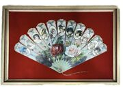 Antique Paper Victorian Fan Glass Gilt Framed 21.5 X 14.5 Vintage Collectible