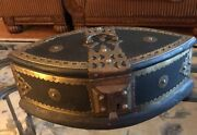 Unique Antique Wood And Brass Lock Trunk