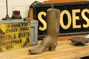 C1800s Early Antique Primitive Advertising 18 Wood Shoe Boot Trade Sign Store
