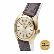 Automatic Winding Cal.442 1971 Yg Brown Leather Womenand039s Watch [b1211]