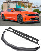 For 19-up Camaro Rs And Ss Carbon Fiber Front Lip Side Splitter Cap And Side Skirts