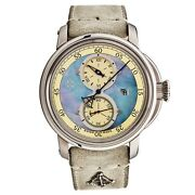 L. Kendall Menand039s K5 Blue Mop Dial Ivory Leather Strap Automatic Watch K5-003