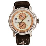 L. Kendall Menand039s K5 Ivory Mop Dial Brown Leather Strap Automatic Watch K5-004
