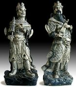 Lg Antique Chinese Blue And White Porcelain Dharmapala Guardian Ceramic Statues Pr
