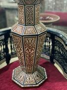 Handmade Wooden Vase Inlaid Mother Of Pearl 20 H